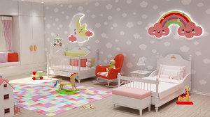 3D girls bedroom design