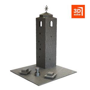 religious building clock tower 3D model
