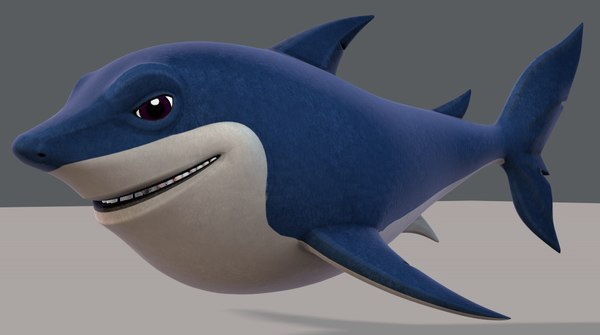 3D shark v01 cartoon animal model