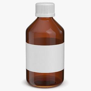 3D amber glass bottle
