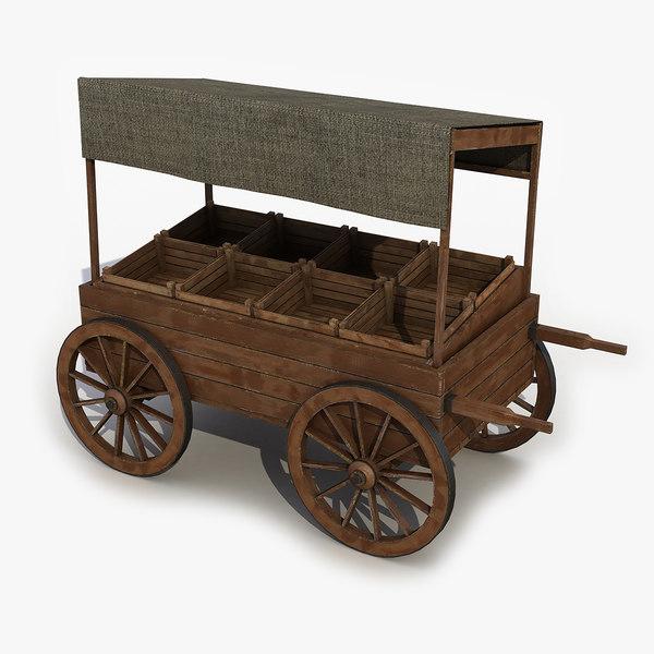 3D wooden cart market