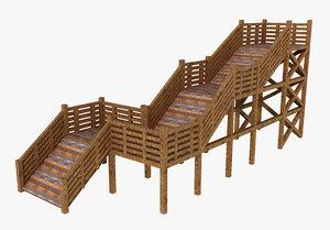 3D stair wood model