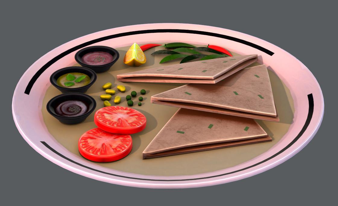 3D naan bread 01 food model