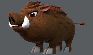 boar v02 cartoon animal 3D model