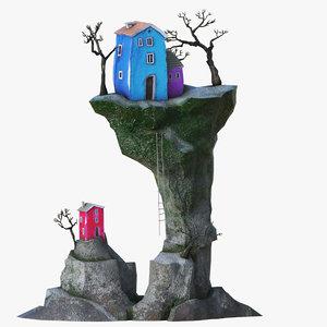 3D cartoon village model