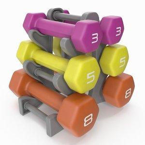 3D fitness dumbbell set rack