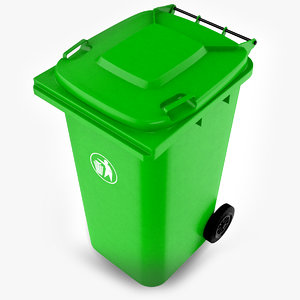 green wheelie bin 3D model