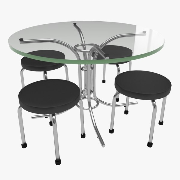 glass table set design 3D model