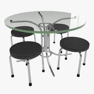 glass table set design 3D model