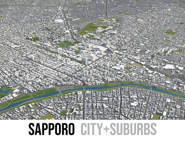 city sapporo surrounding - model
