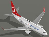 3D boeing 737-700 turkish airlines
