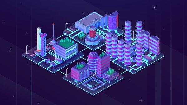 cartoon space city 3D