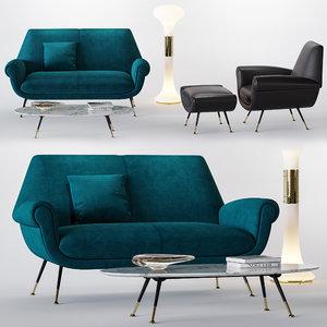 3D minotti albert set sofa armchair