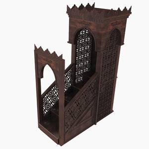 mosque wooden stairs sermon 3D model