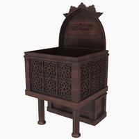 3D mosque wooden sermon rostrum model