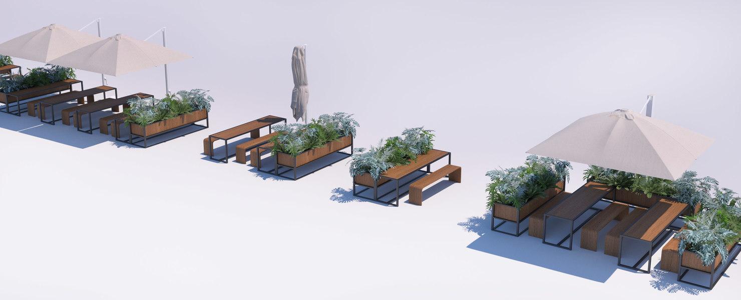 Outdoor Restaurant Seating Benches 3d Model Turbosquid 1411846