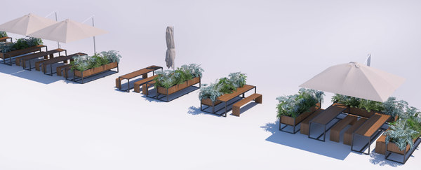outdoor restaurant seating benches 3D model