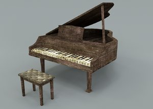 old piano abandoned 3D