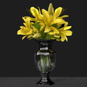 3D bouquet flower decoration vase