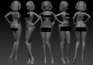 anime chica mujer 3D