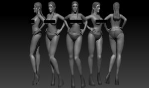 chica mujer 3D model