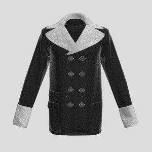 3D men double breasted jacket model