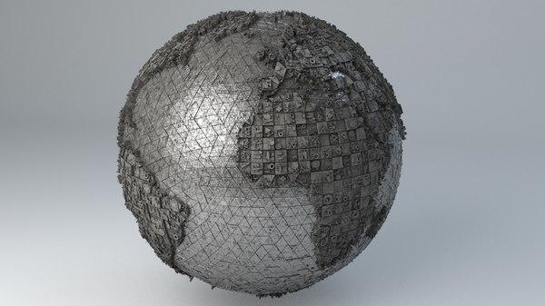 - sci-fi shapes earth 3D model