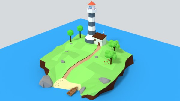3D lighthouse island scene