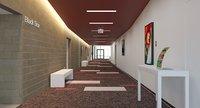 Hattiloo Theatre Lobby & Hallway Interior Scene 3D