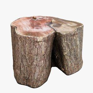 tree trunk stump apple 3D model