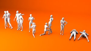 10 static women 3D model