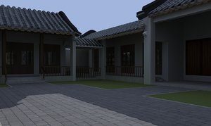 3D model ancient courtyard house