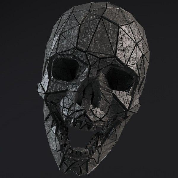 - sci-fi shapes skull 3D model