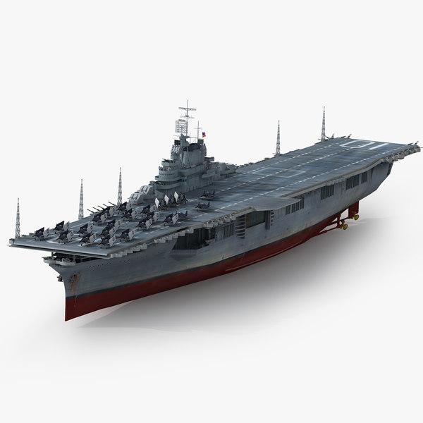 uss yorktown cv-10 1943 3D model
