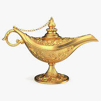 3D golden magic lamp gold