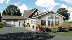 3D country ranch house garage