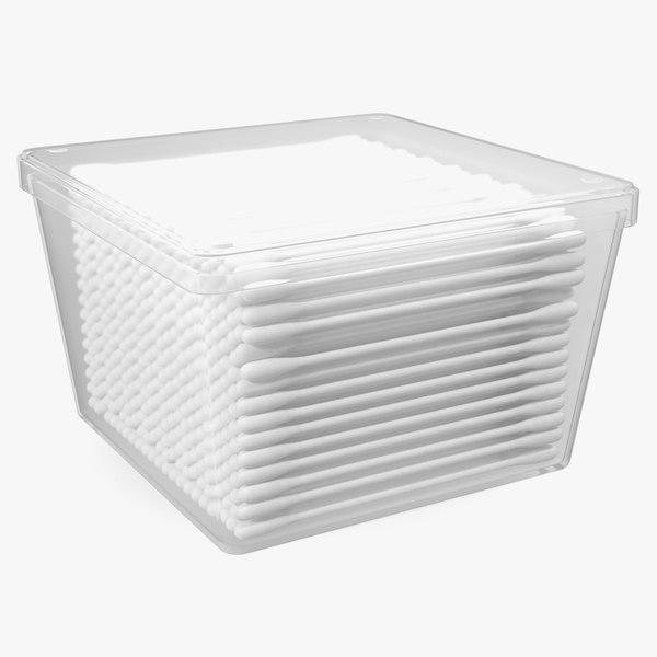 3D model cotton sticks plastic box