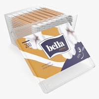 aural cotton wooden swabs 3D model