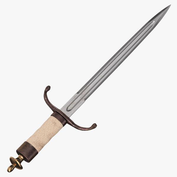3D dagger long model
