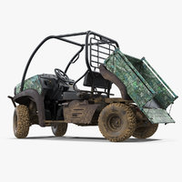 Utility Vehicle 4x4 Camo Dirty Rigged 3D Model