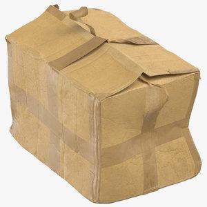 3D model old damaged cardboard box