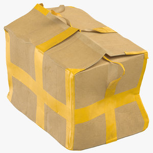 3D old damaged cardboard box model