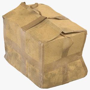 3D old damaged dirty cardboard box