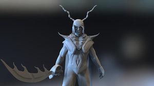 3D model fantasy warrior