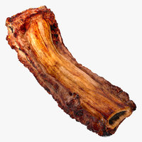 3D roasted pork spare rib model