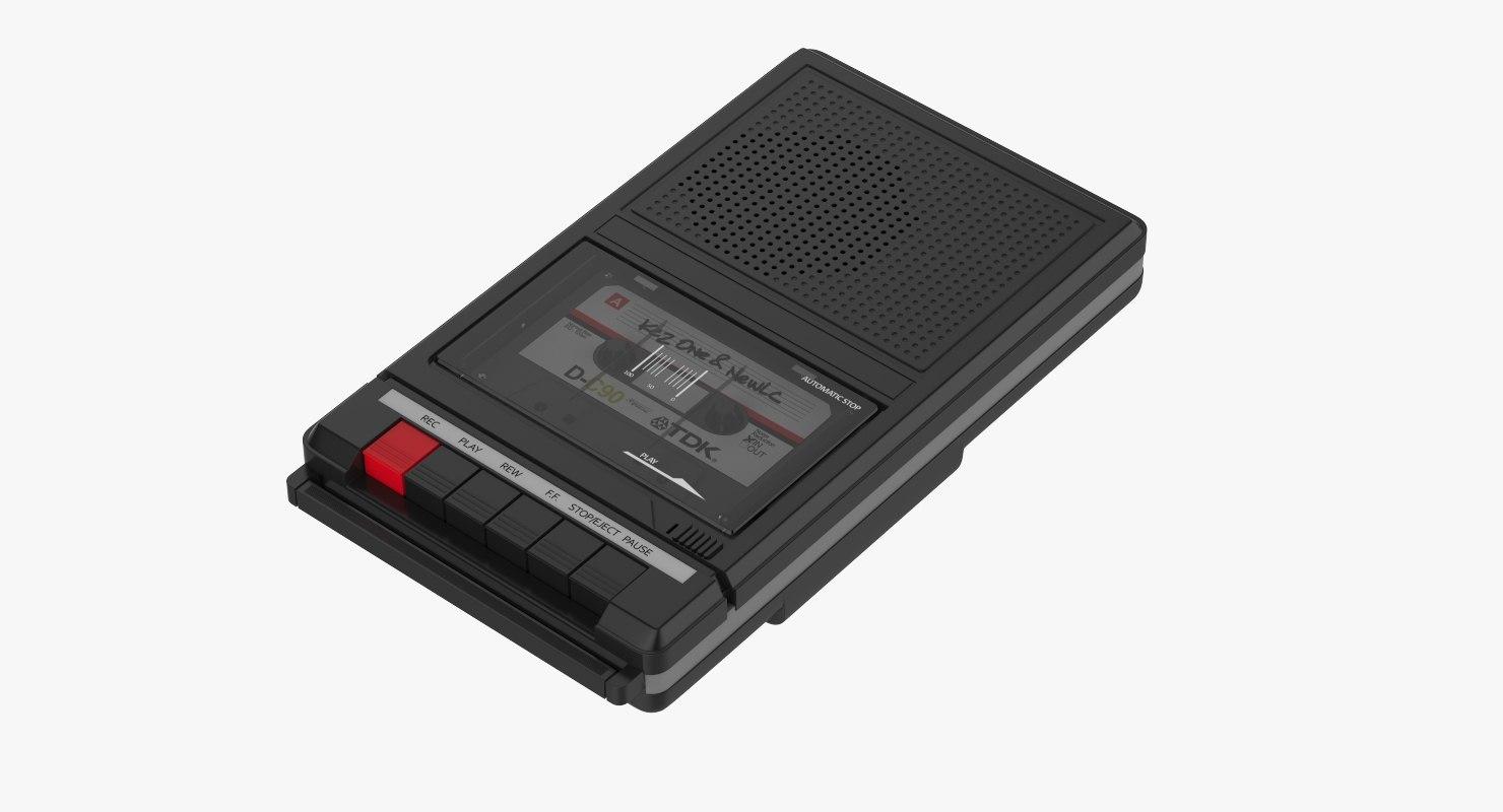 3D black cassette player recorder model