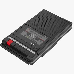 3D black cassette player recorder model
