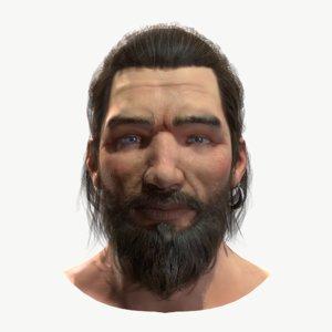 3D man head pbr