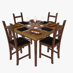 restaurant dining table set model