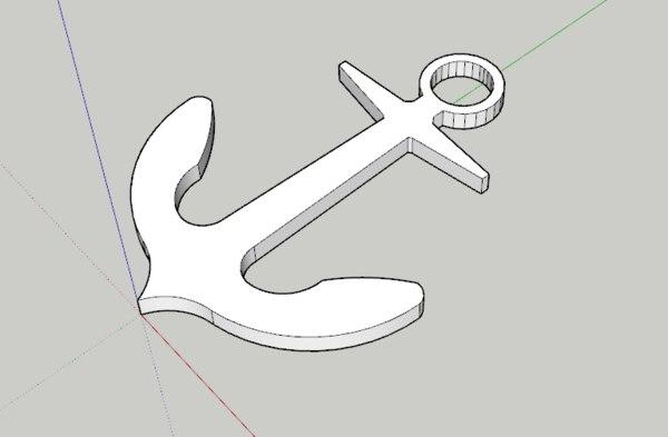 3D anchor keychain model